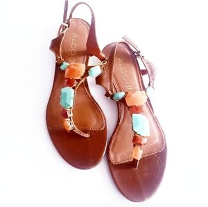 ALDO Jewelled Brown Genuine Leather Thong Sandals